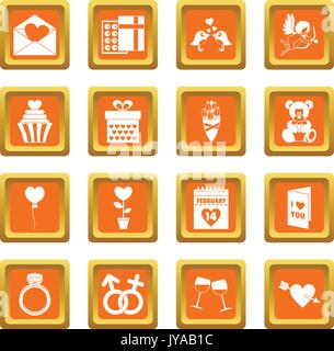 Saint Valentin icons set orange