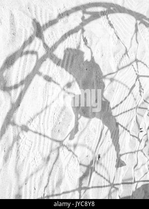 Ombre sur le sable par un enfant de la montée d'une structure de jeu palmés.