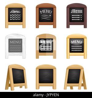 Ensemble d'icônes de menu restaurant tableau noir. Divers conseils sandwich trottoir avec un cadre en bois et d'une craie. 3D réaliste pliage blanc panneaux pour eatery.