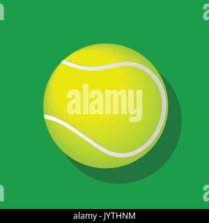 Balle de tennis avec ombre isolé sur fond blanc. EPS10 Vector illustration. Banque D'Images