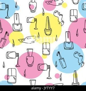 Vernis à ongle hand drawn doodles pour salon de beauté Banque D'Images