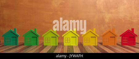 L'efficacité énergétique des maisons et concept. 3d illustration Banque D'Images