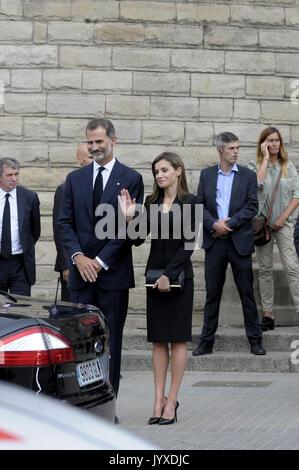 Barcelone, Espagne. 20e Août 2017. Le roi Felipe VI et La Reine Letizia assistant à la messe à la Sagrada Familia Banque D'Images