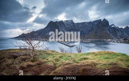 Une vue de la baie au cours de soir Reine, îles Lofoten, dans le Nord de la Norvège Banque D'Images