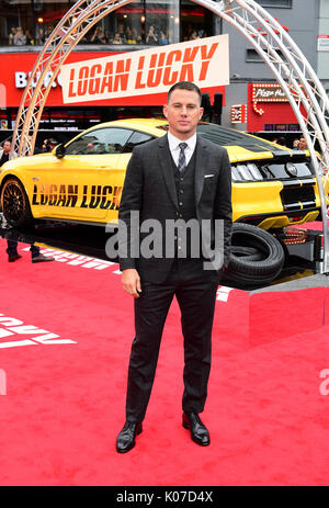 Channing Tatum participant à la Logan Lucky UK Premiere tenue à vue West End à Leicester Square, Londres. Banque D'Images
