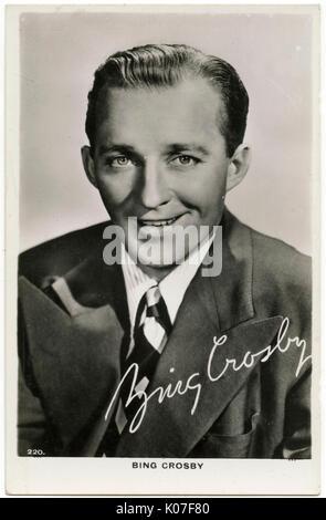 Bing Crosby (1903 -1977), chanteur et acteur de film Date: