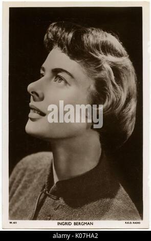 Ingrid Bergman (1915 - 1982), actrice suédoise. Date: