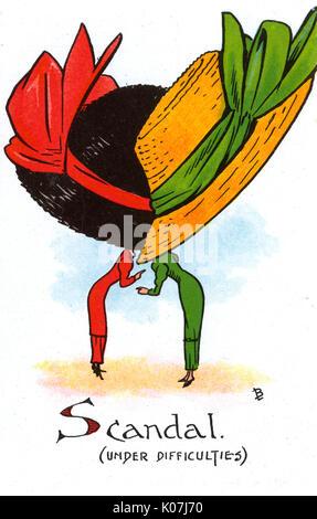 Carte postale bd - satire sur le penchant pour les femmes de porter des chapeaux de grandes et enveloppant durng Banque D'Images