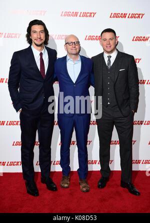 (De gauche à droite) Adam Driver, le producteur Steven Soderberg et Channing Tatum participant à la Logan Lucky Banque D'Images