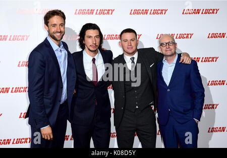(De gauche à droite) Reid Carolin, Adam Driver, Channing Tatum et Steven Soderbergh participant à la Logan Lucky Banque D'Images