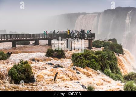 Les touristes sur l'affichage de la plate-forme, chutes d'Iguazú, Foz Do Iguacu, Parana, Brésil