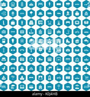 100 icônes urbaines sapphirine violet Banque D'Images