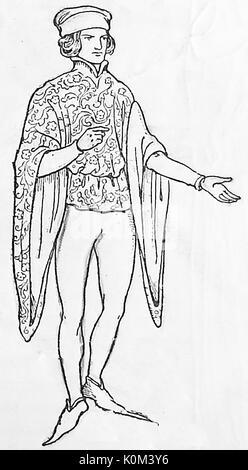 1928 Une illustration montrant une tenue masculine /costume pour les classes moyennes dans le 14e siècle en Grande Banque D'Images