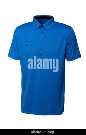 Couleur bleu golf tee shirt pour homme ou femme sur fond blanc Banque D'Images