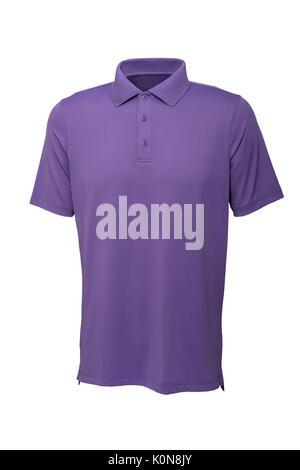 Couleur pourpre golf tee shirt pour homme ou femme sur fond blanc Banque D'Images