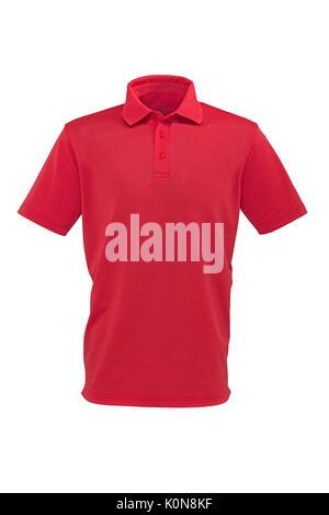 Couleur rouge golf tee shirt pour homme ou femme sur fond blanc Banque D'Images