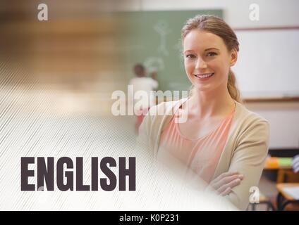 Composite numérique d'un texte anglais et professeur d'école avec classe Banque D'Images