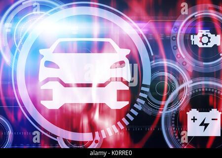 L'image graphique de voiture et outils contre l'écran de l'ordinateur montrant le papier peint lumineux Banque D'Images