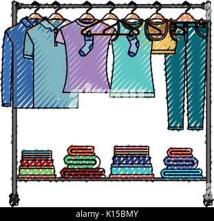 Crayon de couleur silhouette de porte manteau avec t-shirts et pantalons sur des cintres et plier les vêtements Banque D'Images
