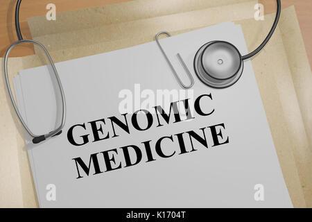 3D illustration de 'la médecine génomique' title sur un document Banque D'Images