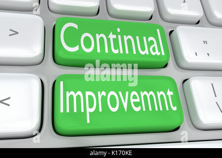 3D illustration de clavier de l'ordinateur avec le print 'Amélioration continue' sur deux boutons verts Banque D'Images