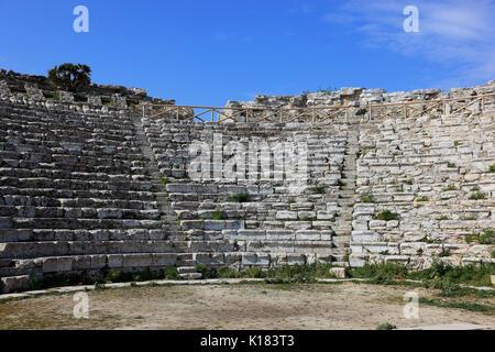 La Sicile, le théâtre grec de la ville antique de Segesta, province de Trapani Banque D'Images