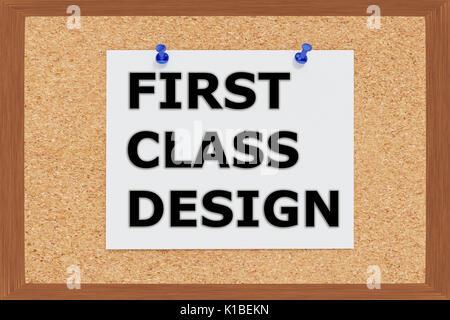 Rendre l'illustration de la première classe sur le panneau de liège Titre Design Banque D'Images