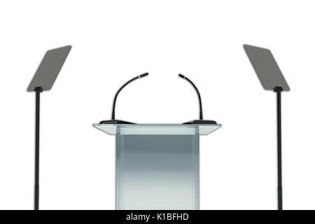 Rendre illustration de podium avec deux microphones et deux présentoirs, isolated on white Banque D'Images