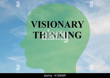 Rendre l'illustration de la pensée visionnaire titre sur head silhouette, avec ciel nuageux en arrière-plan Banque D'Images