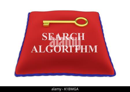 Illustration de l'algorithme de rendu de recherche Titre sur l'oreiller en velours rouge près d'une clé d'or, isolé Banque D'Images