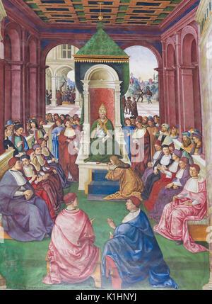 Fresques (1502) dans la Bibliothèque Piccolomini dans la Cathédrale de Sienne, Toscane, Italie, de Pinturicchio Banque D'Images