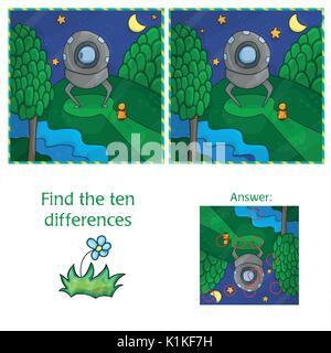 Trouvez les différences 10 OVNIS. Jeu éducatif pour les enfants. Cartoon vector illustration. Banque D'Images