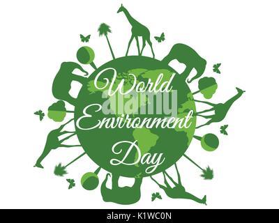 La Journée mondiale de l'environnement, la planète terre avec des animaux, de l'environnement, de l'environnement, Banque D'Images