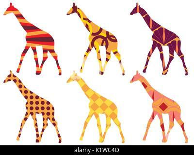 Modèle de girafe. Girafe style ethnique. Ensemble de girafes. Vecteur. Banque D'Images