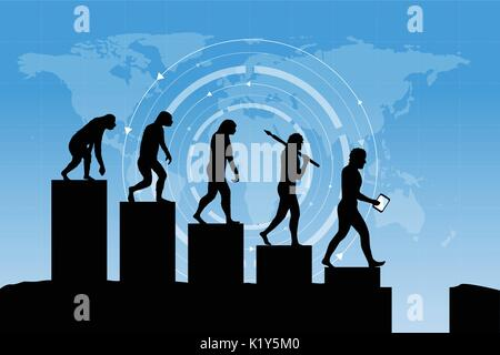 L'évolution humaine dans le monde numérique actuel. Concept du risque d'entreprise! Silhouette de l'évolution humaine Banque D'Images