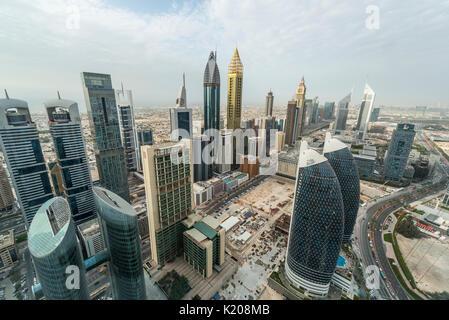 Gratte-ciel et les rues, Dubaï, Émirats Arabes Unis