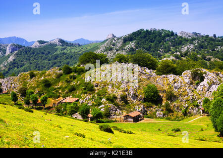Montagnes paysage avec ferme en journée d'été. Picos de Europa, l'Espagne, Asturies Banque D'Images