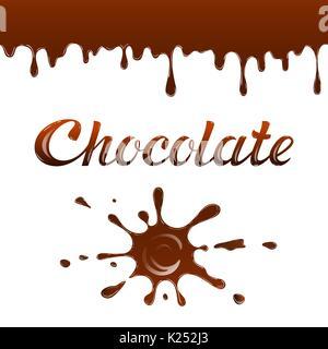 Caricature de chocolat de gouttes et de taches. Vector illustration avec let Banque D'Images