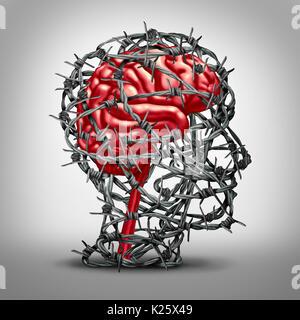Concept de protection du cerveau et la protection de l'icône de l'esprit comme une médecine de la santé mentale Banque D'Images