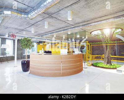 Loft moderne de la réception du bureau. Concept de rendu 3D Banque D'Images