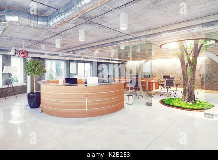 Réception Bureau loft moderne et écologique. Concept de rendu 3D Banque D'Images
