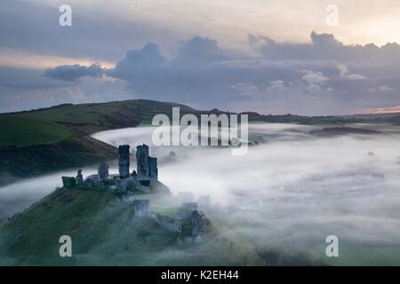 Château de Corfe dans la brume à l'aube, Dorset, Angleterre, Royaume-Uni, novembre 2014, Banque D'Images