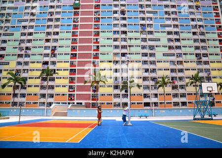 Choi Hung Estate à Hong Kong - l'architecture étonnante et dynamique Banque D'Images