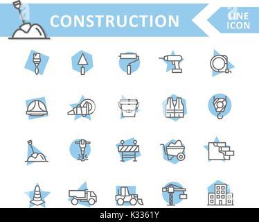 Jeu de vector construction et réparer la conduite d'icônes. Brosse, rouleau, percer, casque, de la peinture, cône, Banque D'Images