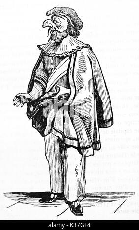 Vieille illustration, Pulcinella personnage italien classique. Par auteur non identifié, publié le Magasin Pittoresque, Banque D'Images