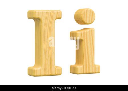 Lettre I en bois anglais, rendu 3D isolé sur fond blanc Banque D'Images