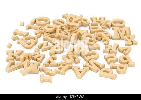 Pile de lettres en bois, 3D Rendering isolé sur fond blanc Banque D'Images