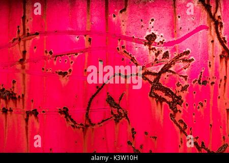 Résumé de la peinture et du métal rouillé rose Banque D'Images