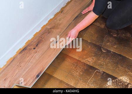 Femme dans la pose de planchers laminés en plastique ou en vinyle Banque D'Images