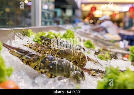 Homards frais sur la glace. L'alimentation de rue en Asie langoustes close-up. Banque D'Images